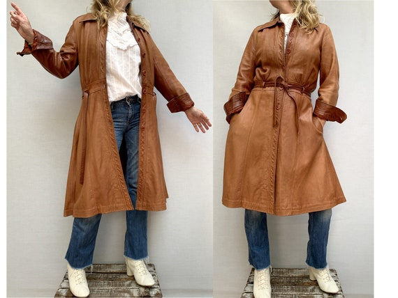 70s brown leather COAT/ belted leather trench coat