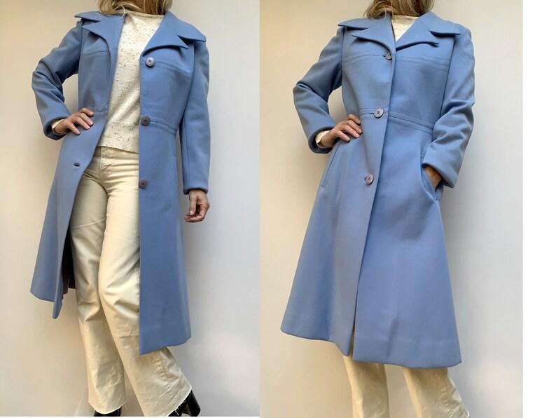 70s blue wool  COAT vintage winter coat Overcoat size eu 38-uk10-us6