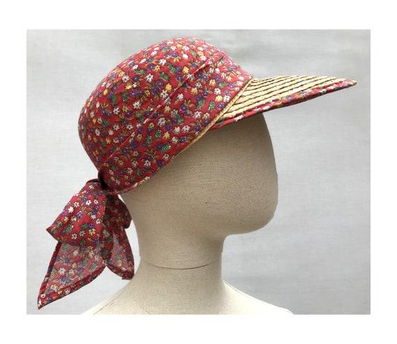 1980s Straw Liberty Cotton Scarf CAP // 1980s str… - image 2