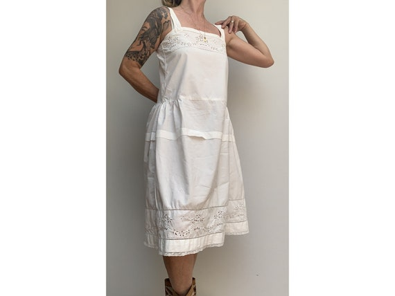 antique white cotton open eyelet embroidered DRES… - image 3