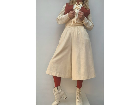 70s wool high waist Skirt Pants 70s short pants fl
