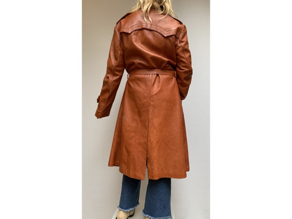 70s fox brown leather TRENCH COAT  Leather trench… - image 3