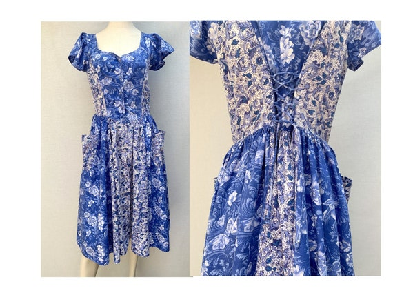 vintage 80s blue Floral DRESS // cotton floral Dre