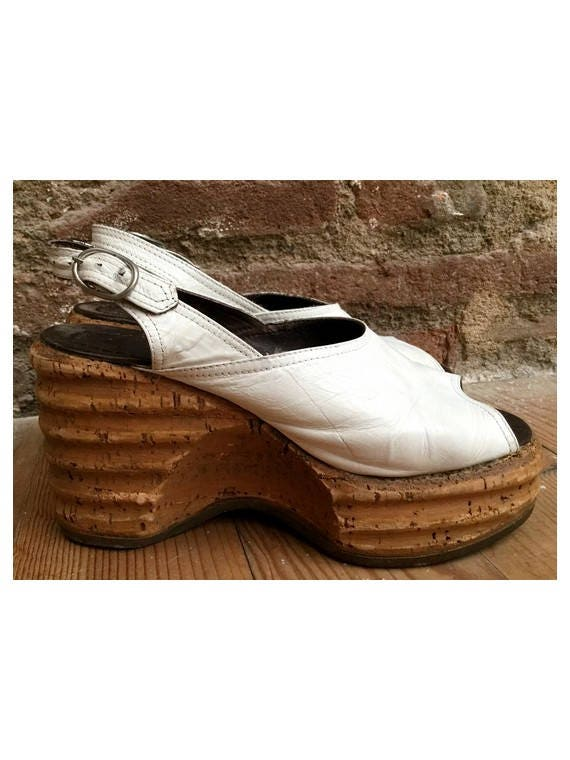 1970s White Leather Cork Platform Wedge Mules Shoes Size Etsy