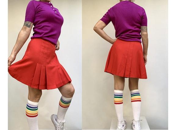 60s pleated mini SKIRT school skirt wool mini skir