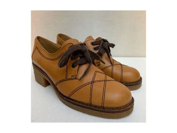 NEW OLD STOCK 60s brown leather Laced Oxfords Shoe
