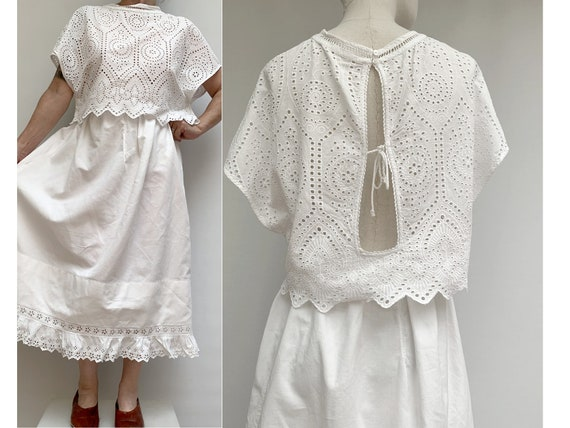 80s white eyelet lace cotton CROP TOP vintage lace