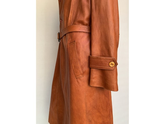 70s fox brown leather TRENCH COAT  Leather trench… - image 7