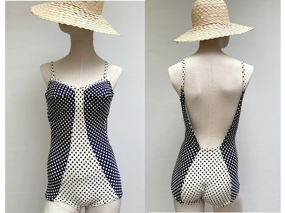 vintage 60s Polka Dot  One -piece SWIMSUIT 60s swi