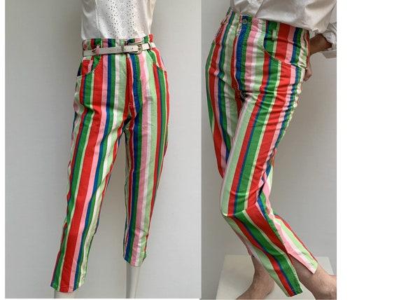 80s vintage striped cotton PANTS high waist slim p