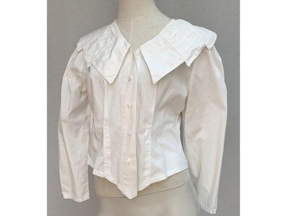 vintage 80s white cotton Asymetrical BLOUSE // Sha