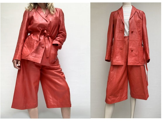 80s vintage red leather skirt pants and Blazer  SE