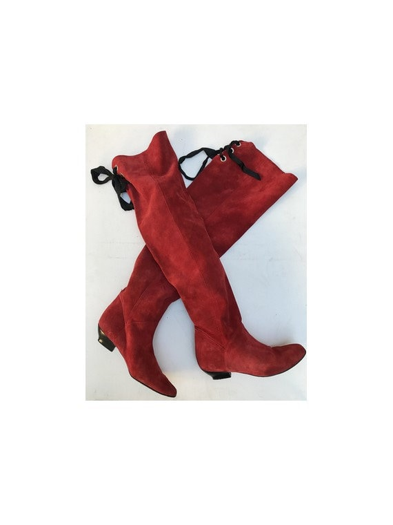 1980s Italian red suede HIGH KNEE Laced thigh high
