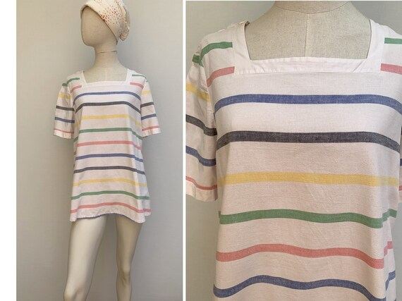 80s striped cotton TUNIC 80s summer top 80s blouse