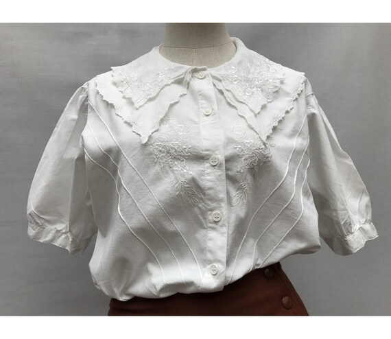 1970s 80s oversized  white cotton embroidered larg