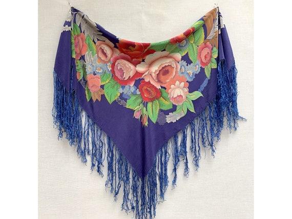vintage Silk Floral Fringed SHAWL //80s shawl // s