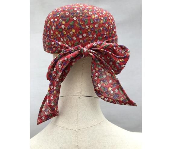 1980s Straw Liberty Cotton Scarf CAP // 1980s str… - image 6