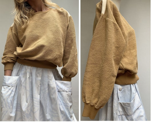vintage sweatshirt 70s brown Sweatshirt  cotton sw