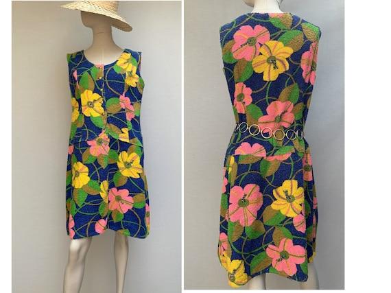 vintage 60s floral Neon towel Mini DRESS // 60s te