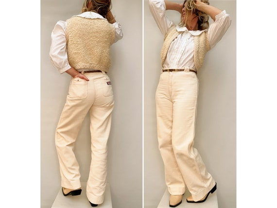 Vintage 70s beige CORDUROY flared high waist PANTS