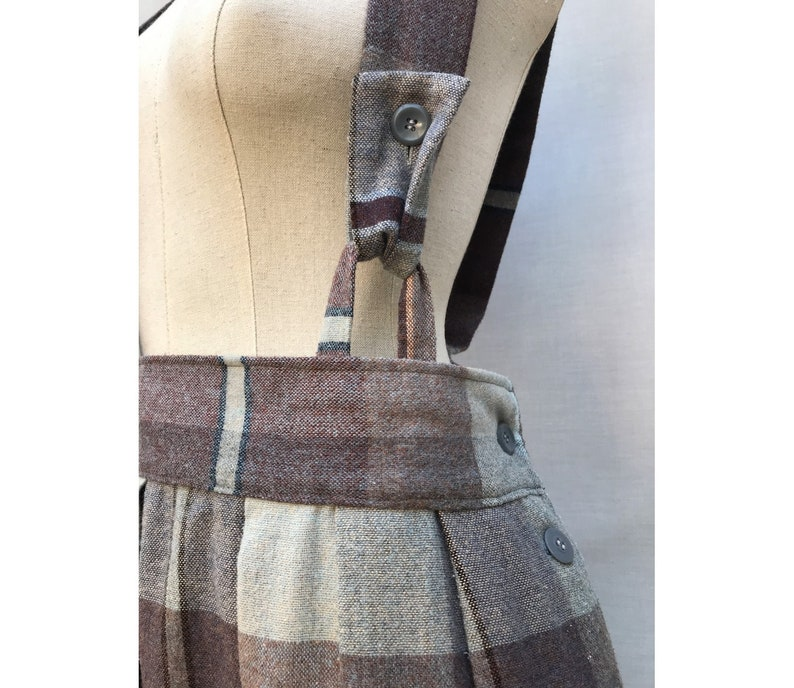 dbccdbd3d 1980s Wool Plaid Brown Pleated High Waisted Dungarees Skirt | Etsy