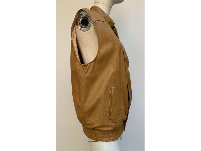 70s 80s brown leather Sleeveless JACKET leather bolero oversized