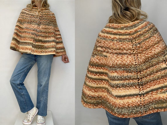 vintage wool hand knit 70s crochet PONCHO 70s wool