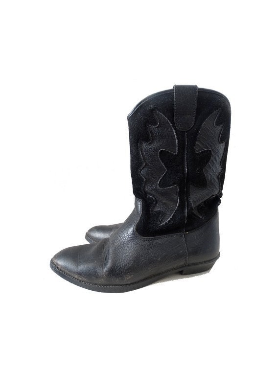 vintage boots // 80s western boots // black leath… - image 1