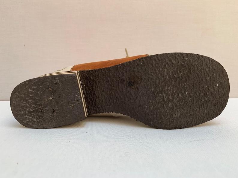 uk3 .5 1960s Mod bi color Leather laced TWIGGY Shoes Mocassins size eu 36 us 5