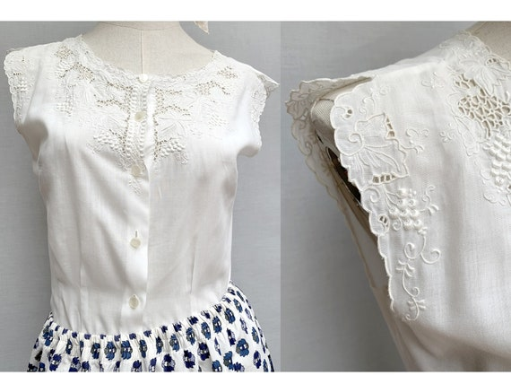 60s white cotton embroidered sleeveless TOP 60s bl