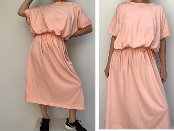 80s cotton oversized DRESS summer dress midi lengh