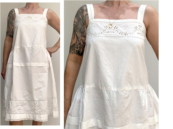 antique white cotton open eyelet embroidered DRES… - image 2
