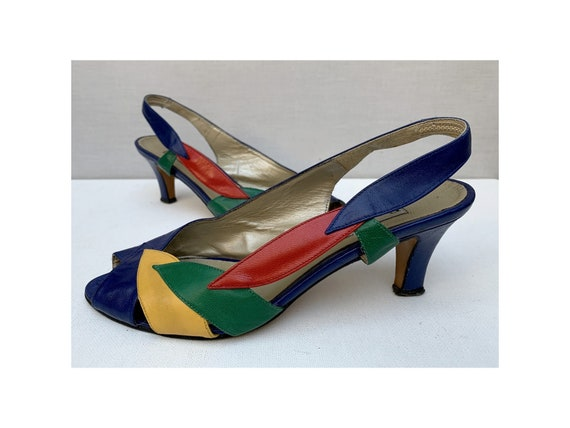 vintage 80s color Block PUMPS Shoes / color block