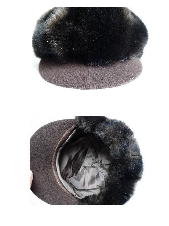 vintage 60s cap // faux fur cap // mod fur cap //… - image 5