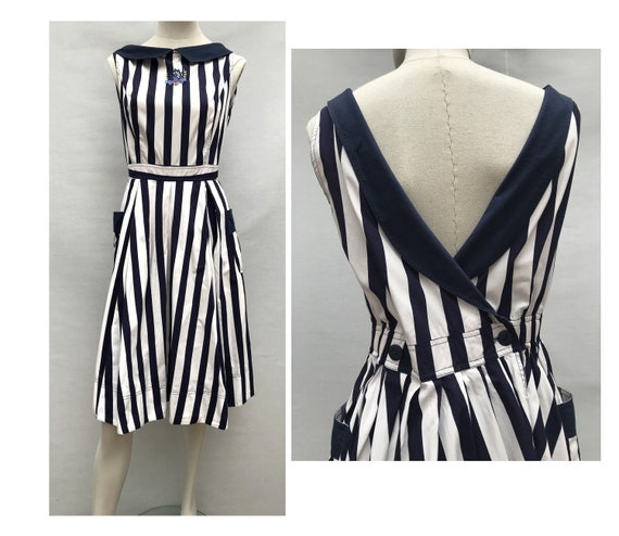 René DERHY 1980s Blue and white striped backless Y