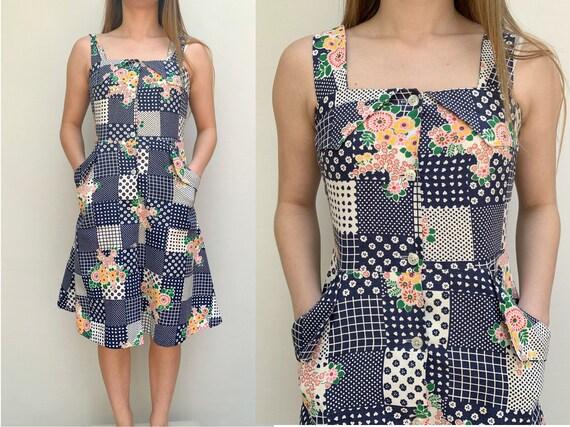 70s vintage patchwork cotton shirtdress 70s summer