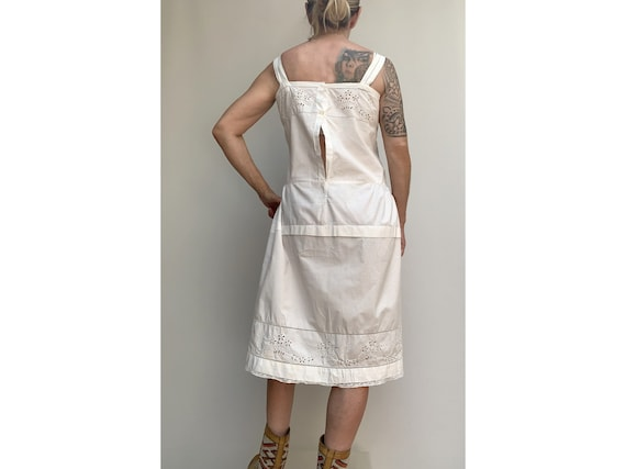 antique white cotton open eyelet embroidered DRES… - image 4
