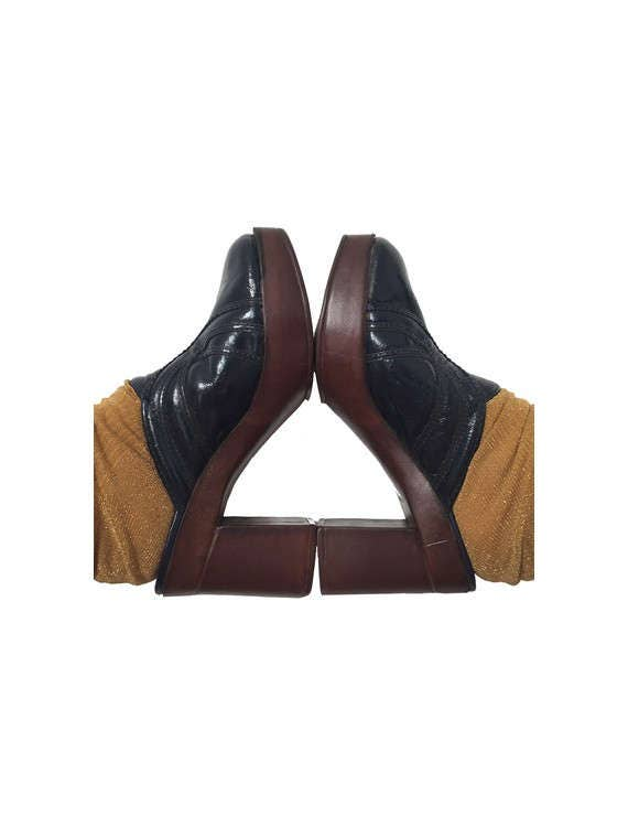 1970s Disco Platform CLOGS  Shoes // Leather Platf