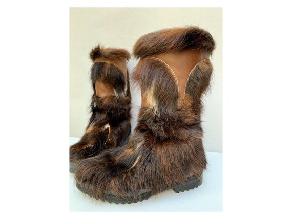 60s DATCHA yeti BOOTS / patchwork fur and leather