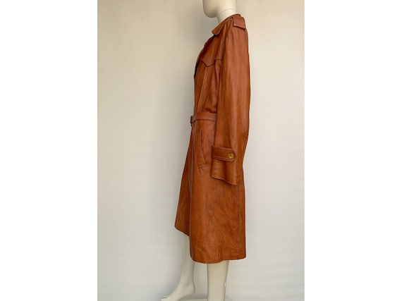 70s fox brown leather TRENCH COAT  Leather trench… - image 6