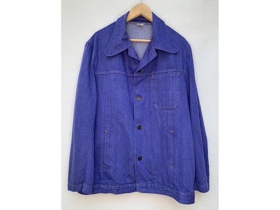60s 70s CHORE jacket  french  blue work men JACKET