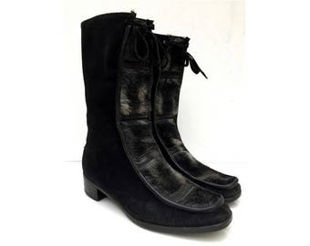 1960s black suede and fur  snow BOOTIES // 1960s suede ankle boots // size eu 38- uk 5- us 6.5