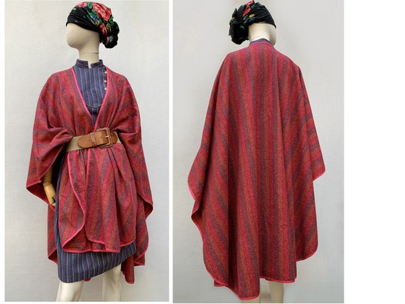70s wool striped CAPE / wool shawl / wool Poncho /