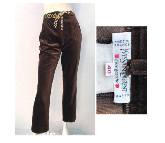 cf6b893180e 1980s Yves Saint LAURENT rive gauche brown velvet Tapered High | Etsy