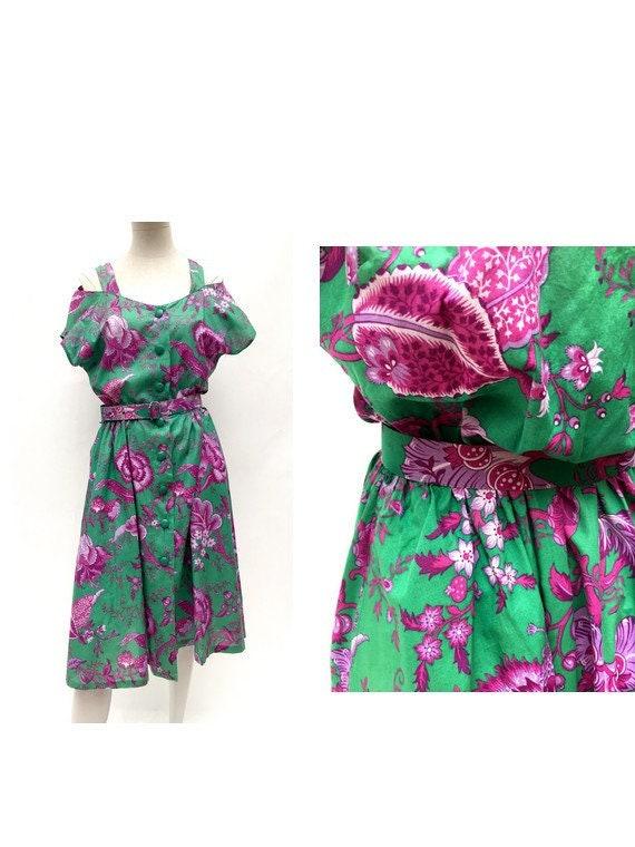 80s vintage floral dress / 80s shirtdress / DEVERN
