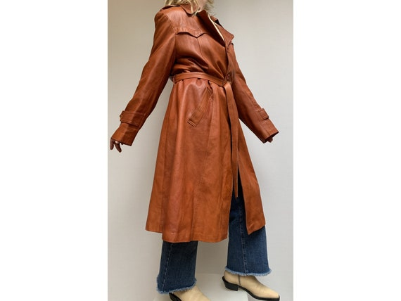 70s fox brown leather TRENCH COAT  Leather trench… - image 2