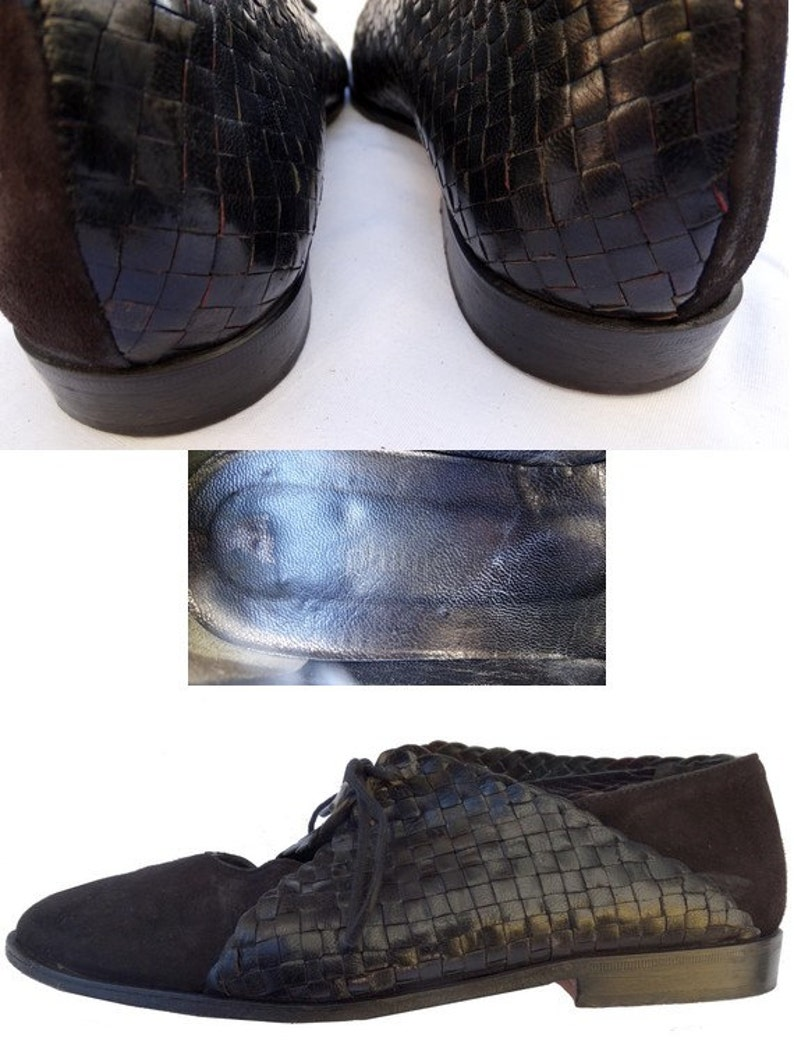 Stephane KELIAN 90s  SHOES  90s laced up shoes  moccasins woven leather laced up oxford  size37 uk 4 us 5.5
