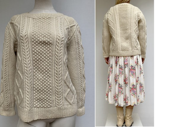 vintage Fisherman Cable knit beige wool SWEATER 70