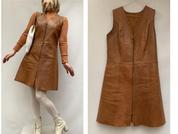 70s vintage Leather sleeveless DRESS zipped leathe