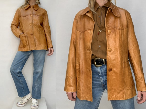 70s leather jacket natural tan leather jacket size